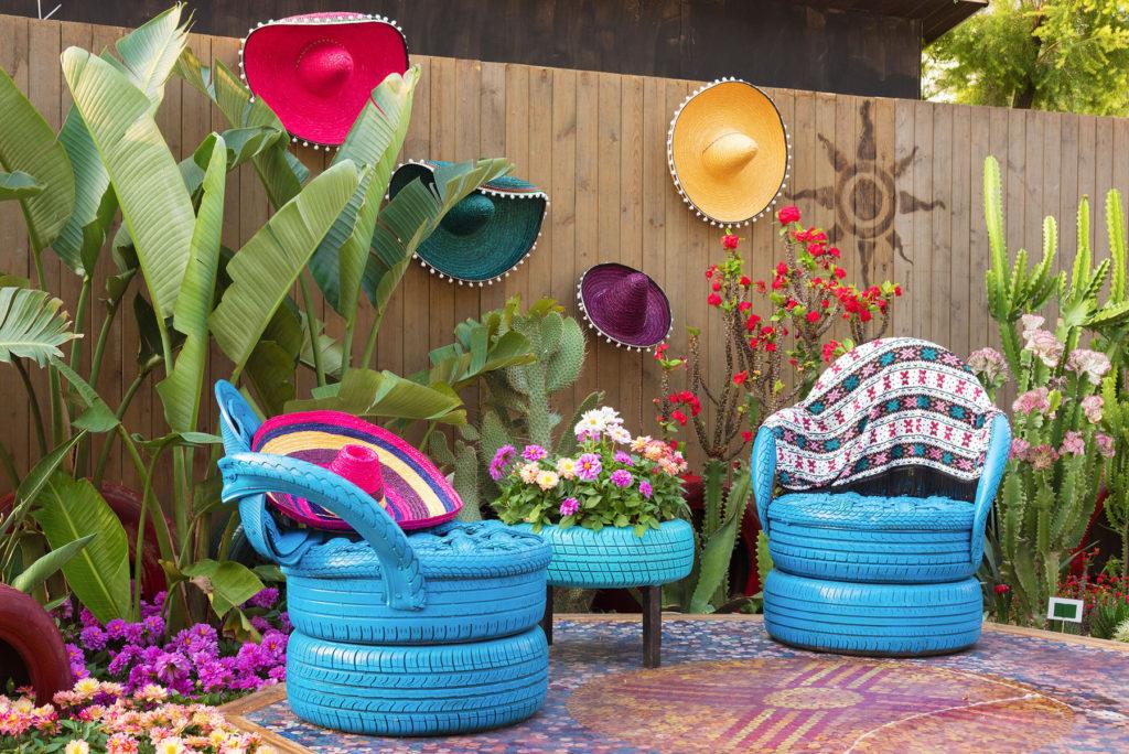 Terrasse façon hacienda - Mexican flower garden